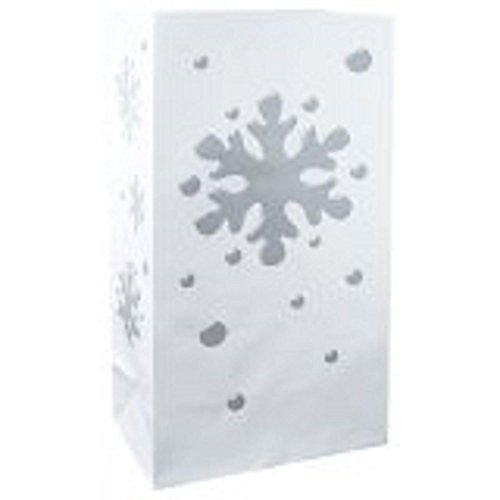 CC Home Furnishings Pack of 100 Flame Resistant Designer White and Silver Snowflake Luminaria Bags 11