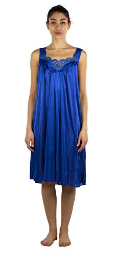JOTW Silky Lace Accent Sheer Nightgowns - Medium to 4X Available (9006) (Royal, 2XL)