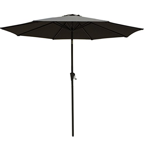 Outdoor 9 Ft Commercial Market Patio Umbrella Parasol with Tilt,Crank,UV Protection Waterproof, Charcoal (Round 4 Pulley Market Umbrella)