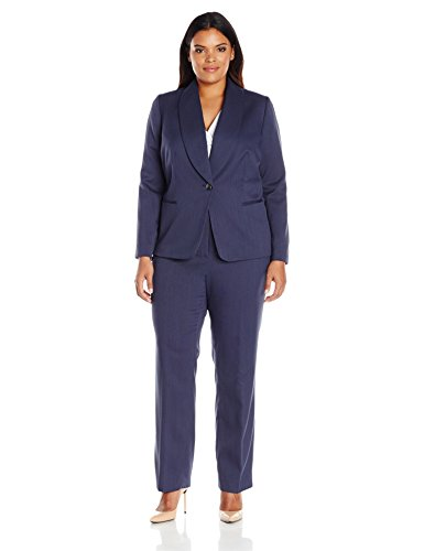 Tahari-by-Arthur-S-Levine-Womens-Plus-Size-Novelty-One-Button-Pant-Suit