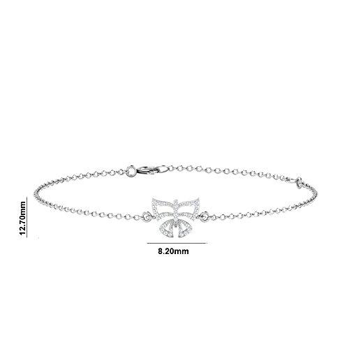Libertini bracelet argent 925 femme plaque or Rose serti de Diamant en forme de Pap...