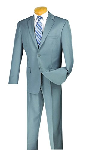 Vinci 2 Button Single Breasted Classic Fit Gabardine Suit 2AA-Gray-44S