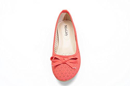 Mila Lady Laser Cut Casual Comfotable Y Chic Hidden High Mujeres Zapatos Planos (elisa2) Coral