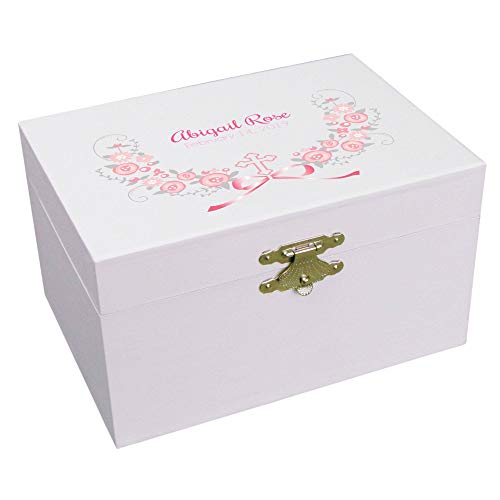 - Personalized Baptism Girl Pink and Gray Jewelry Box Ballerina Musical Plays It's a Small World