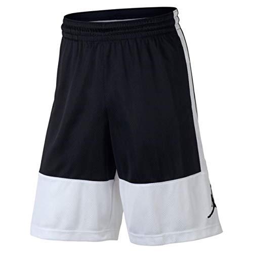 7dd6cf6e2d81 Nike Air Jordan Mens Dri-Fit Rise Basketball Shorts Black White (Large)
