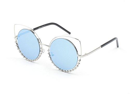 Furlux Women's Oversized Pearl-Studded Cat Eye Metal Frame Mirrored Lens Sunglasses 70mm UV400 Protection (Silver Frame/Icy Blue - Studded Sunglasses