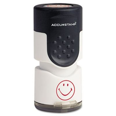 ACCUSTAMP Accustamp Pre-Inked Round Stamp with Microban, Smiley, 5/8 dia., Red (Smiley Face Posters)