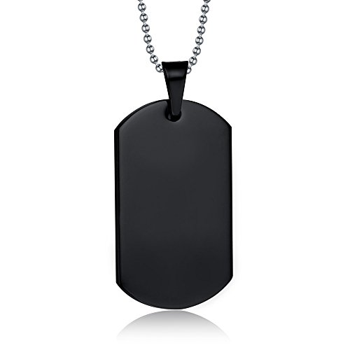 XUANPAI Black Custom Name Men's High Polished Army Dog Tag Pendant Necklace Personalized Gift -