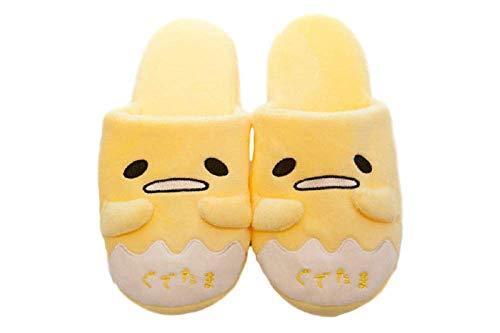 Anime Adult Shoes - GK-O Gudetama Yellow Lazy Egg Plush Indoor Antiskid Shoes Slippers (US8.5~9.5(25.5~26.5cm))