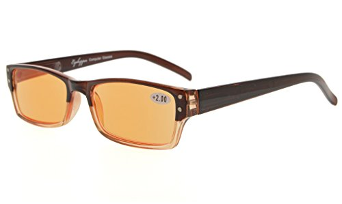 Eyekepper Spring Hinge Two-Tone Color Computer Glasses Readers Reading Glasses (Orange Tinted Lenses, Brown-Clear) - Glasses Tone 2