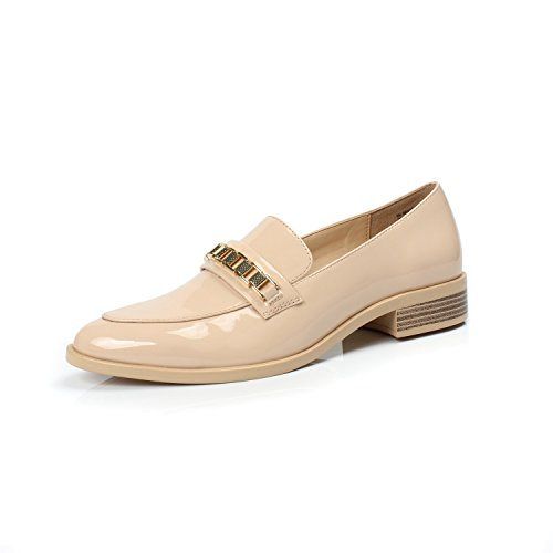 DUNION Women's Brandon Chain Decorated Penny Loafers Low Heels Almond Toe Casual Daily Shoe Brandon Nude