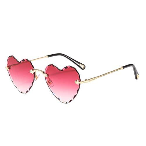 Heart Shaped Sunglasses Metal Frame Cute Eyewear UV400 for ()