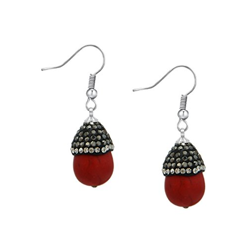 80s Costume Australia Online (ART KIM Handmade Glued on Diamond Edisonite Candy Dangle Earring (red))