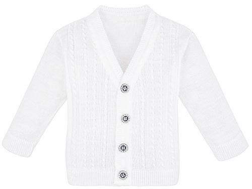 Bouquet Sweater (Lilax Baby Boy Cable-Knit Basic Knit Cardigan Sweater 3-6 Months White)