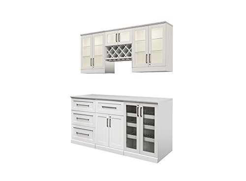 (NewAge Products Inc. NewAge Products Home Bar Espresso 7 Piece Cabinet Set, 60090, White)