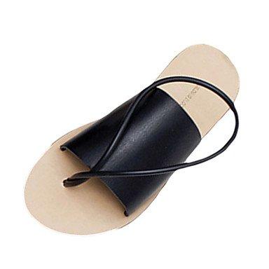 LvYuan Mujer-Tacón Bajo-Confort-Sandalias-Informal-PU-Negro Blanco Black