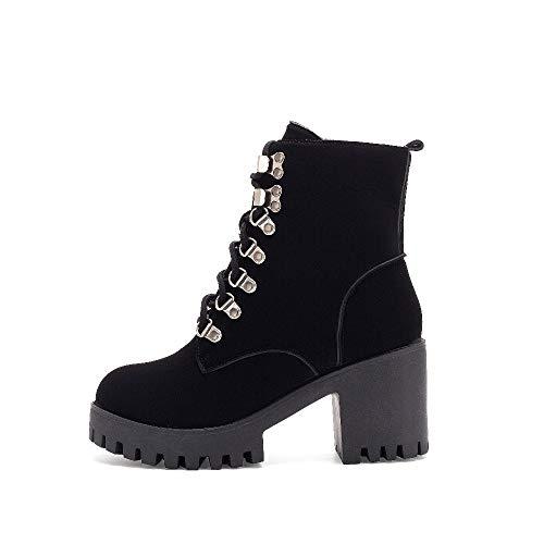Tacones Botas Dropship Plataforma Con Altos Mujeres Tobillo Mujer Moda Negro Cordones Pingxiannv Zapatos Martin q0W8wB7t