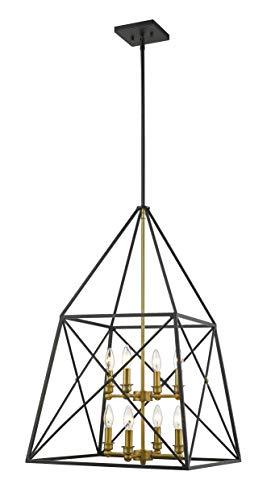 Z-Lite 447-8MB-OBR Trestle 8 Light 20 inch Matte Black and Olde Brass Chandelier Ceiling Light (Olde Brass Chandelier)