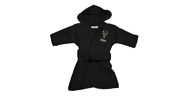 Hooded Baby Robe with Embroidered Logo Milwaukee Bucks Personalized Baby Bathrobe