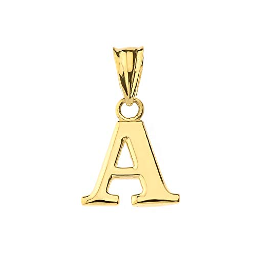 Fine Personalized Initial A Charm Pendant in Solid 14k Yellow Gold ()