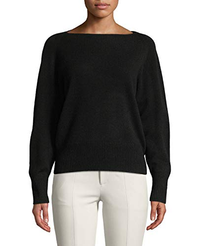 Vince Wool/Cashmere Boatneck Pullover Sweater, Black (Large)