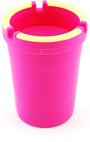 Pink Small Ashtray - VIP Home Essentials Stub Out Glow in The Dark Car Cup Holder Style Self-Extinguishing Butt Bucket Ashtray (Hot Pink, Regular)