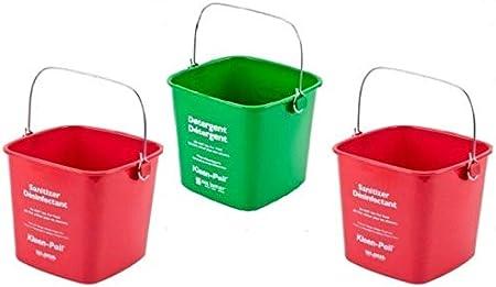 2 Buckets Green 1 Bucket San Jamar KP550GN Kleen-Pail Commercial Cleaning Caddy Only San Jamar KP97RD 3-Quart Red Kleen-Pail Container