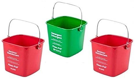 San Jamar KP97RD 3-Quart Red Kleen-Pail Container 3 Buckets