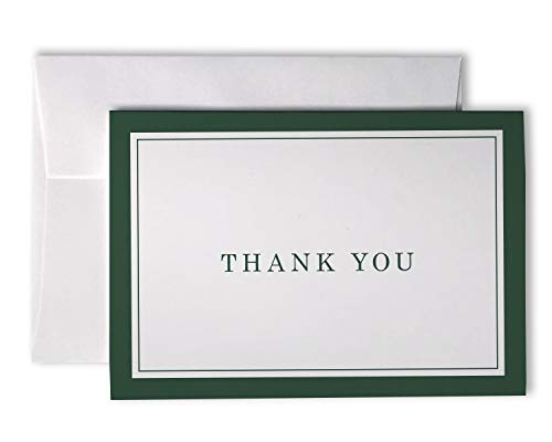 Formal Striped Thick Border Thank You Cards - 48 Cards & Envelopes (Green)
