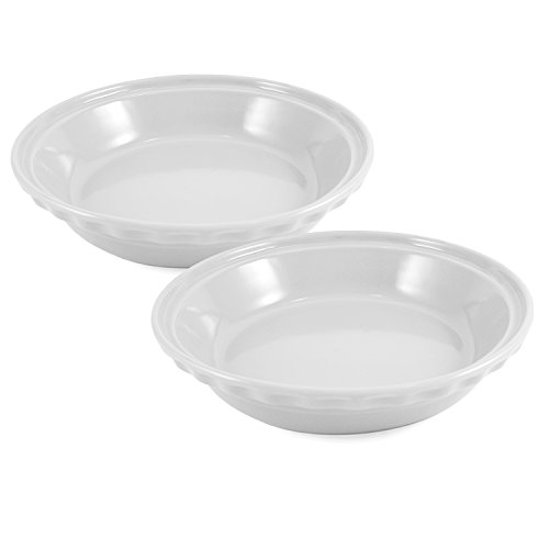 Chantal Glossy White Ceramic 9.5 Inch Deep Pie Dish, Set of 2 by Chantal