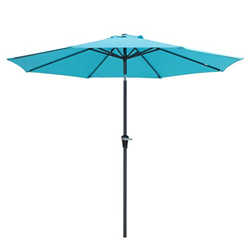 SONGMICS 9 ft Patio Umbrella, Outdoor Table Umbrella, Sun Shade, Octagonal Polyester Canopy, with Push Button Tilt and Crank Mechanism - for Gardens, Balcony and Terrace (Turquoise) UGPU09JU ()