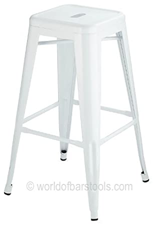 high cafe style metal bar stool white amazon co uk kitchen home