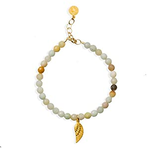 "Dogeared Gold Dipped Guardian Angel Wing Amazonite Beaded 6"" with 1"" Extender Bracelet"