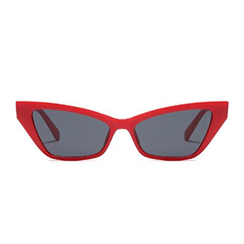 retro de Gafas pequeño de Yefree Gris Gafas sol sol elegantes de sol vintage de Rojo estilo Gafas de marco Z5xdq