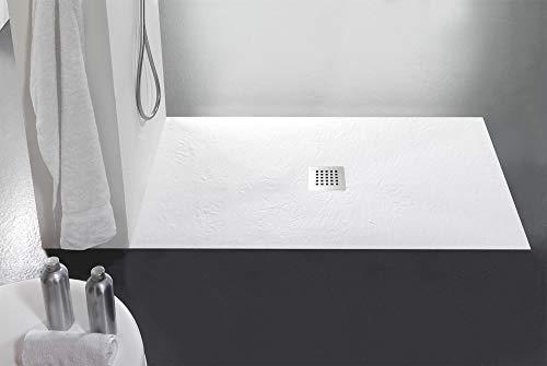 Plato de ducha de piedra Bonussi pizarra Stone Central blanco ...