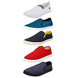 Chevit Men's Blue; White and Red Canvas Combo Pack of 5 Loafers and Sneakers Shoes