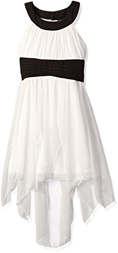 Contrast Waistband - My Michelle Big Girls' Hi Low Carwash Dress with Contrast Halterneck and Waistband, Black Ivory/Black/Ivory, 8