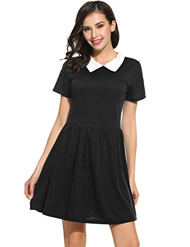 POGT Women's Black Petite Dress peter pan collar dresses women juniors girls (S, Black) -