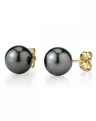 14K Gold 8-9mm Tahitian South Sea Cultured Pearl Stud Earrings - AAAA Quality