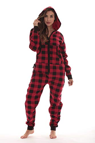 - #followme Buffalo Plaid Jumpsuit Adult Onesie Pajamas 6439-RED-XXL