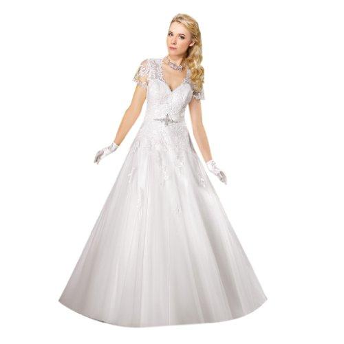 Hof Kleidungen Schleppe Damen A V Linie Tuell Dearta Brautkleider Prinzessin Ausschnitt Elfenbein n4x7R