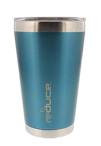 (Reduce Cold-1 Insulated Tumbler Cup with Clear Lid - Pint Size, Light Blue, 16 oz, Keeps Drinks Hot/Cold - Stainless Steel, Ideal for Home/Travel - Fill Mug with Coffee, Water, Beer, Wine or Soda)