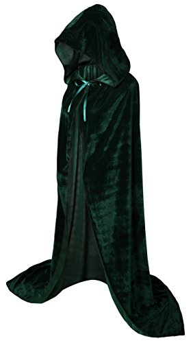VGLOOK Full Length Hooded Cloak Long Velvet Cape for Christmas Halloween Cosplay Costumes 59inch Green]()