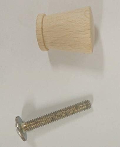 Pomello pomolo in legno mobili armadi cassetti faggio grezzo ø 16mm maniglie