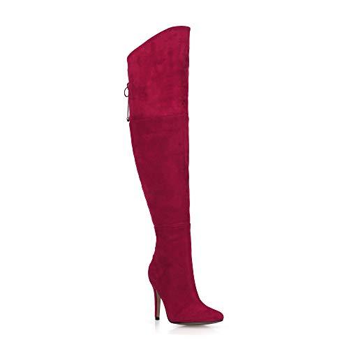 Plataforma Correas Rojo De 9 Otoño Cremallera Mujer Estrecha A Gamuza De La De Punta Botas Invierno Tacones De CM Altas Rodilla 8 Zapatos 17wZq7