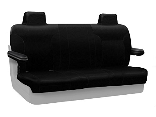 Coverking Custom Fit Rear Solid Bench Seat Cover for Select Lincoln Town Car Models - Premium Leatherette Solid (Black) ()