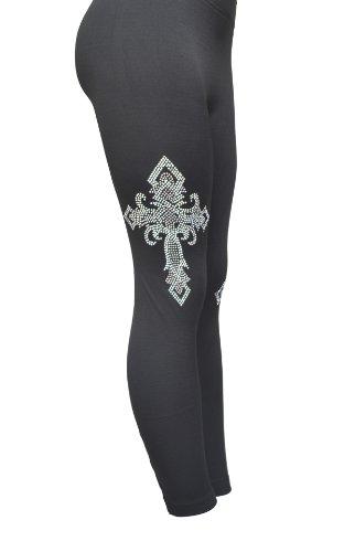Silver Cross Rhinestones Womens Black Legging