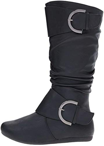 Top Moda Bank-81 Women's Fashion Round Toe Flat Heel Zipper Buckle Slouchy Mid-Calf Boot Shoes (9, Black Pu) ()