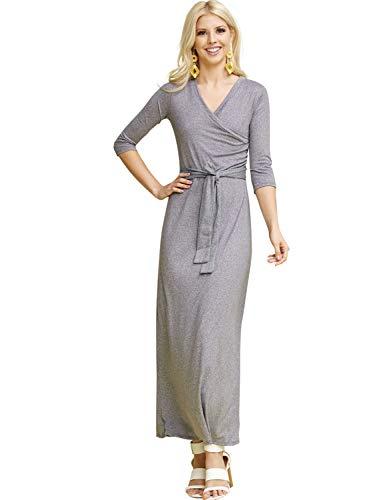 CLOVERY Women's 3/4 Sleeve V-Neck Solid Maxi Wrap Dress Plus Hgrey XL