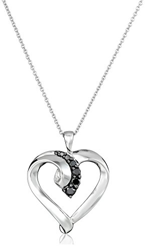 Pendant New 0.25 (Sterling Silver Black Diamond Heart Pendant Necklace (1/4 cttw), 18